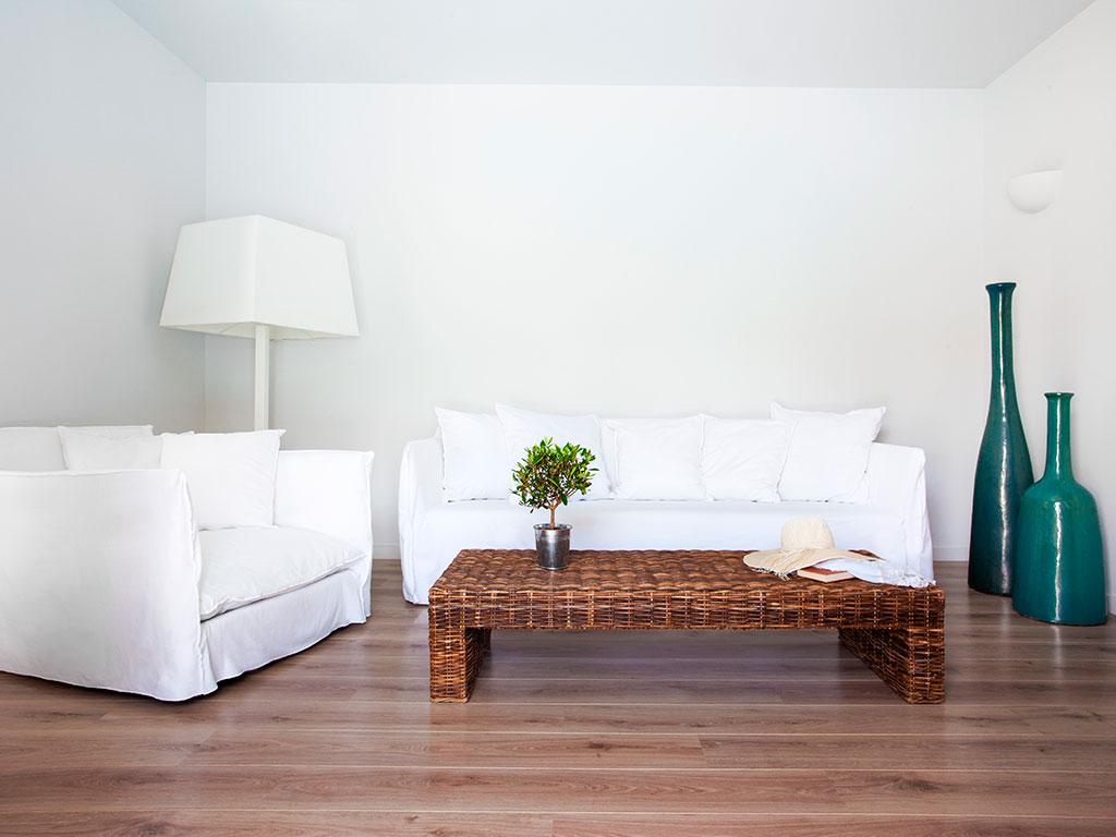 Minos Beach Art Hotel: One Bedroom Villa Living Room