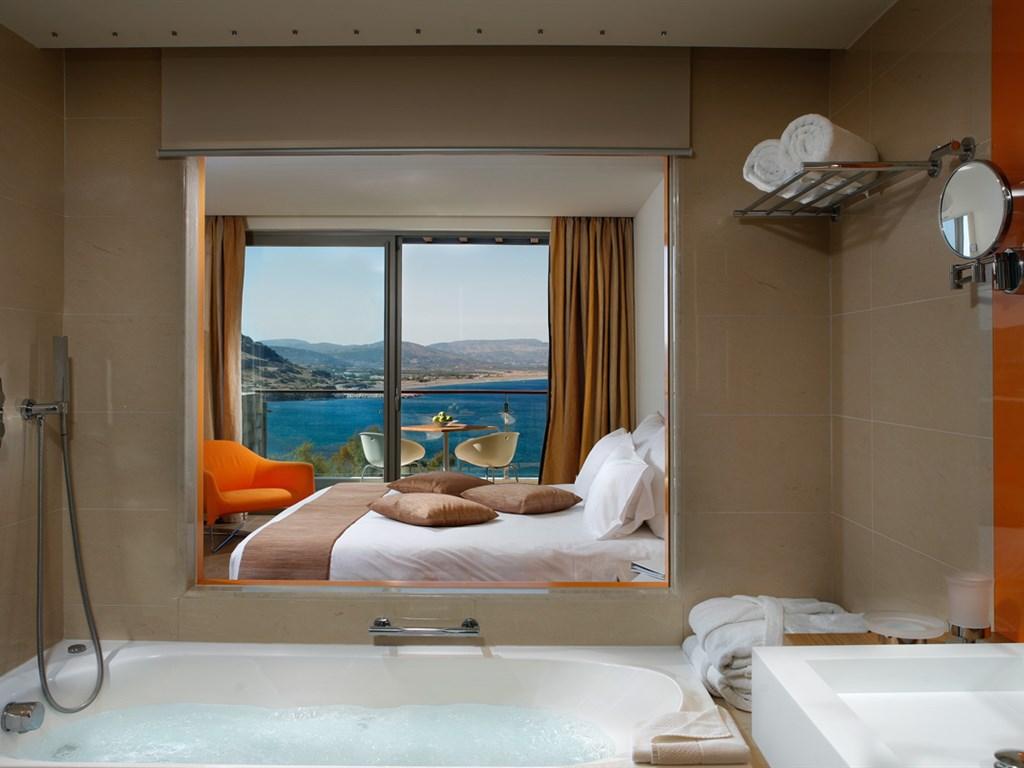Lindos Blu Luxury Hotel & Suites: Double Room Bathroom